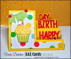 We are celebrating AAA Card Challenge's birthday ! I can't believe how fast years go with this hobby. 3d Cards, Easel Cards, Pop Up Cards, Side Step Card, Stepper Cards, Scrapbook Cards, Scrapbooking, Birthday Cards For Women, Interactive Cards