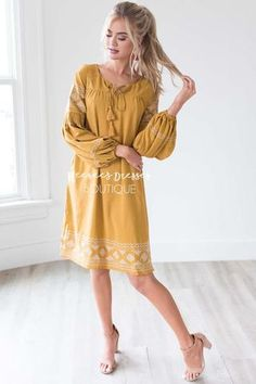 e1d455f30a6f0 The Allie Boho Embroidered Dress - Rustic Gold / S Church Dresses, Church  Outfits,
