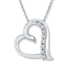 All I need in life...Diamond Heart Necklace  1/20 ct tw Round-cut Sterling Silver