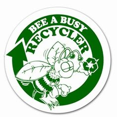 """rd025 - Recycling Decal 5"""" CLEAR, Recycling Stickers, Butt-cut Recycling Labels, Vinyl Recycling Decals, Vinyl Recycling Labels, Vinyl Recycling Stickers"""