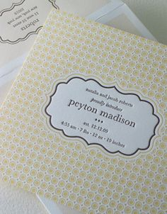 """Cookie"" letterpress birth announcement from Elum Designs. Customize  yours with Paper Passionista."