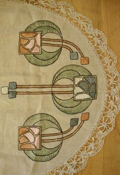 Wonderful Art Nouveau Embroidery by Ann Macbeth – Livemaster Arts And Crafts For Teens, Art And Craft Videos, Arts And Crafts House, Easy Arts And Crafts, Home Crafts, Art Nouveau Pattern, Art Nouveau Design, Art And Craft Design, Design Crafts