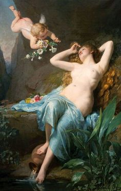 Louis-Emile Adan - The love of the Nymph. Tags: nymphs, cupid, eros,