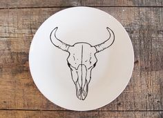 Bison Skull Plate - Hand Drawn Illustration, Black and White