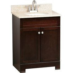 Style Selections Longshire 25-in x 19-in Espresso Single Sink Bathroom Vanity with Granite Top