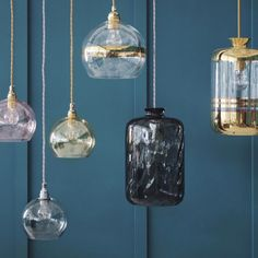 Glass Pendant Lights. Expertly produced in mouthblown glass, these pendant lights can be hung individually or in clusters for dramatic lighting effects.