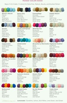 Color combinations for yarns.