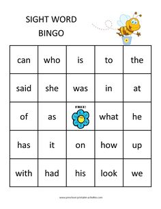 printable sight word bingo game board Sight Word Bingo, Sight Word Worksheets, Sight Word Activities, Cvc Worksheets, Dolch Sight Words Kindergarten, Kindergarten Activities, Preschool, Reggio, Educational Assistant