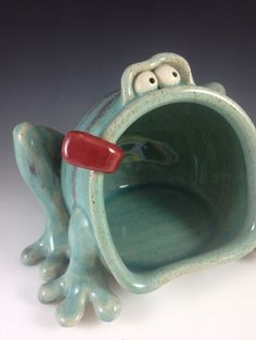 Frog soap/sponge holding Dish Celadon by Claymonster on Etsy. Rich Holt & Cat Audette Holt make whimsical ceramic one of a kind monster vessels and functional stoneware pottery with personality. Great examples for Ceramics students.