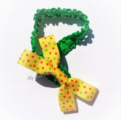 Summer Yellow Bow Headband by MyCutePotato on Etsy