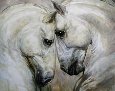 Horse Duet by Jana Fox and Oleg Dyck - Horse Duet Painting - Horse Duet Fine Art Prints and Posters for Sale Horse Drawings, Animal Drawings, Pretty Horses, Beautiful Horses, Horse Anatomy, Horse Artwork, Horse Sculpture, Horse Print, White Horses