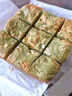 Whatmatchacallit bread/bars.  Uses matcha powder (green tea powder), along with almond and white chocolate.
