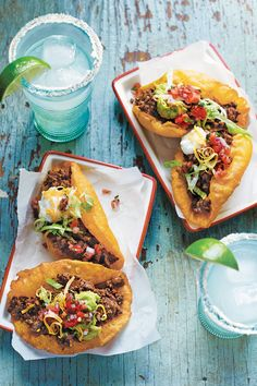 San Antonio Beef Puffy Tacos From: Southern Living Burritos, Enchiladas, Mexican Dishes, Mexican Food Recipes, Ethnic Recipes, Mexican Beer, Carnitas, Tostadas, Quesadillas