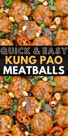 These Quick and Easy Kung Pao Meatballs are packed with flavor and ready in under 30 minutes! These savory Asian meatballs are also great for meal prep! Asian Recipes, Beef Recipes, Cooking Recipes, Healthy Recipes, Meatball Recipes, Chinese Recipes, Chinese Food, Chicken Recipes, Best Appetizers