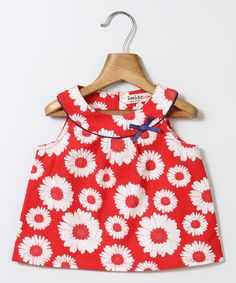 Red & White Sunflower Yoke Top - Infant, Toddler & Girls