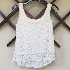 Mossimo cream laced-front tank Mossimo cream laced-front tank. Size Small. Worn only a few times. Mossimo Supply Co Tops Tank Tops