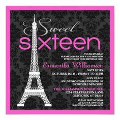 Pink Paris Sweet 16 Invitations