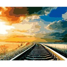 Train Tracks, Creative Activities, Paint Set, Paint By Number, Diy Painting, Coffee Painting, Painting Abstract, Easy Drawings, Art Pictures