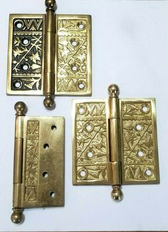 Old Brass Door Knobs Handles Blind Backing Plates Pair Old Late Vintage