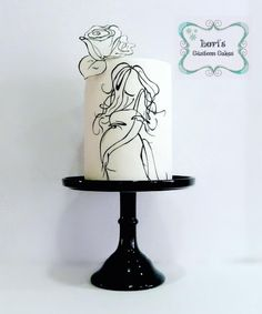 Baby Shower cake - Cake by Lori Mahoney (Lori's Custom Cakes) - black and white, sketch, line drawing, painted cake