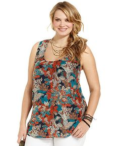 Lucky Brand Jeans Plus Size Top, Sleeveless Printed Tank - Lucky Brand Jeans - Plus Sizes - Macy's
