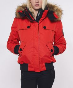 Loving this Fire Red Ava Bomber Jacket on #zulily! #zulilyfinds