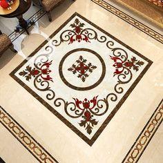 Hall Flooring, Flooring Tiles, Floor Murals, Wall Murals, Floor Design, Tile Design, Tv Cabinet Design, Vinyl Doors, Temple Architecture