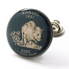 Kansas Quarter Tie Tack Lapel Pin Suit Flag State Coin Jewelry