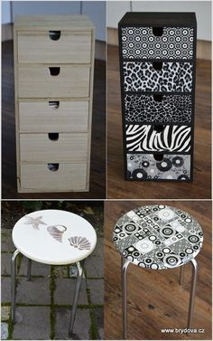 Renovace pomocí decopatch techniky Decopatch Ideas, Space Saving Furniture, Upcycled Furniture, Decoration, Dyi, Decoupage, Home Goods, Diy And Crafts, Projects To Try
