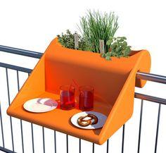 Table d'appoint Balkonzept à suspendre / Pour balcons - Jardinière intégrée Orange - Rephorm