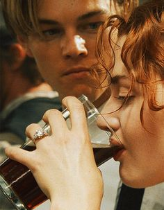 Titanic Leonardo DiCaprio as Jack Dawson and Kate Winslet as Rose DeWitt Bukater - rich girls don't drink . Iconic Movies, Great Movies, Love Movie, Movie Tv, Leo And Kate, Playboy Tv, Jack Dawson, Young Leonardo Dicaprio, Leonardo Dicaprio Kate Winslet