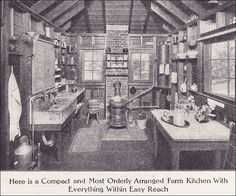 1911 Farm Kitchen Source: Ladies Home Journal From the Antique Home Style collection. a bit rustic but some good principles Farm Kitchen Ideas, Old Kitchen, Vintage Kitchen, Kitchen Things, Kitchen Sink, Kitchen Cabinets, Old Photos, Vintage Photos, Girl Photos