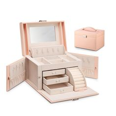 Vlando Faux Leather Jewelry Box Organizer, Vintage Gift Case with 6 Colors Avaliable (Pink-Cross Pattern) >>> See this great product.