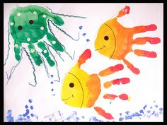 This week we sifted through a pile of art that daycare sent home. The handprint octopus and fish were my favorite. #ArtShow