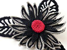 Broche fibra broche ganchillo irlandés Pin Pin gótico Daisy broche broche gris rojo gris negro Steampunk Crochet flor Pin broche de la flor de ganchillo