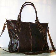 Leather Tote Handbag Cross body Bag Nora XL in Dark brown fits a 17 inches laptop. $159.00, via Etsy.