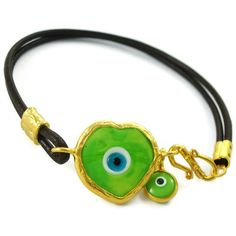 green heart murano evil eye bracelet Evil Eye Jewelry, Evil Eye Bracelet, Murano Glass, Jewels, My Style, Heart, Bracelets, Green, Leather
