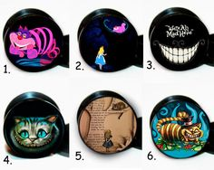 Pair 6 Different Cheshire Alice in wonderland ear gauges tunnel screw back plug #Unbranded