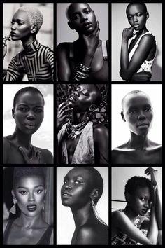 Models L-R- Herieth Paul, Ajak Deng, Flaviana Matata, Nykhor Paul, Mari Agory, Grace Bol, Jodie Smith, Alek Wek, and Oroma Elewa