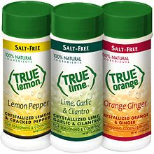 True Citrus Spice Blends.  100% natural, no salt, no sugar and they taste great. True Lemon Pepper: fabulous on fish and chicken. True Lime Lime, Garlic & Cilantro - amazing in marinades, salsas and guacomole. True Orange Orange Ginger - love baking with this.   www.truelemonstore.com
