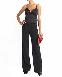 Sexy and confident- black crepe trousers and a lingerie- inspired tank are the perfect date night or girl's night out ensemble!