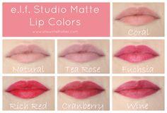 e.l.f. Matte Lip Color Lip Swatches - Coral, Natural, Tea Rose, Fuchsia, Rich Red, Cranberry, Wine