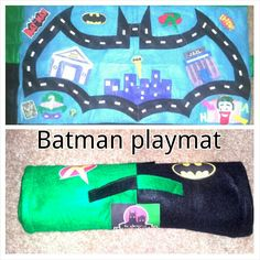 Diy felt car playmat  Batman  felt  play mat super heroes Gotham city travel play Mat. Used hot glue for the most part but sewed the edges. I printed the logos onto iron on sheets and voila