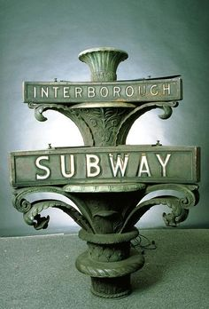 Art Nouveau Interborough Subway Sign from New York City.