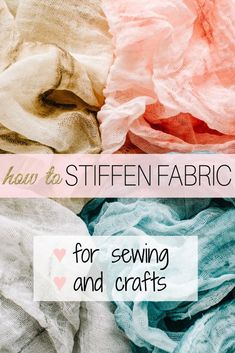 Learn how to stiffen fabric for sewing and fabric sculpturing crafts, This simple guide will show you both commercial and DIY fabric stiffener products. Diy Ribbon, Fabric Ribbon, Fabric Art, Linen Fabric, Fabric Sewing, Sewing Lessons, Sewing Hacks, Sewing Tutorials, Sewing Tips