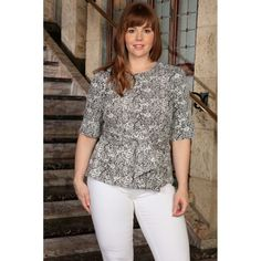 Black White Stretchy 3/4 Sleeve Casual Top With Belt - Women Plus Size