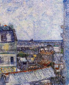 View Of Paris From Vincents Room In The Rue Lepic by Vincent Van Gogh Handmade oil painting reproduction on canvas for sale,We can offer Framed art,Wall Art,Gallery Wrap and Stretched Canvas,Choose from multiple sizes and frames at discount price. Vincent Van Gogh, Van Gogh Art, Art Van, Desenhos Van Gogh, Van Gogh Pinturas, A4 Poster, Paris Poster, Poster Wall, Van Gogh Paintings