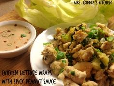 Chicken Lettuce Wraps with Spicy Peanut Sauce - Mrs. Criddles Kitchen- S Trim Healthy Mama