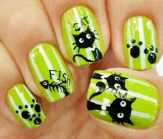 Loving This Lime Green ~ :) More and like OMG! get some yourself some pawtastic adorable cat shirts, cat socks, and other cat apparel by tapping the pin! Cat Nail Art, Funky Nail Art, Animal Nail Art, Cat Nails, Nail Polish Art, Funky Nails, Sassy Nails, Simple Nail Art Designs, Nail Designs