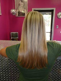 Brown Hair Blonde Hightlights..very healthty too!